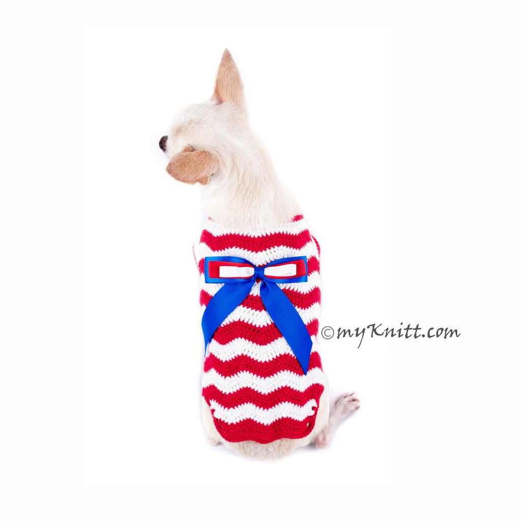 Red White Blue July 4th Dog Clothes Wavy Crochet with Ribbon DK793