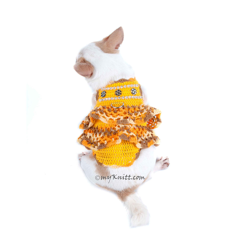 Ruffle Crochet Dog Dress Rhinestones Pet Harness DK912