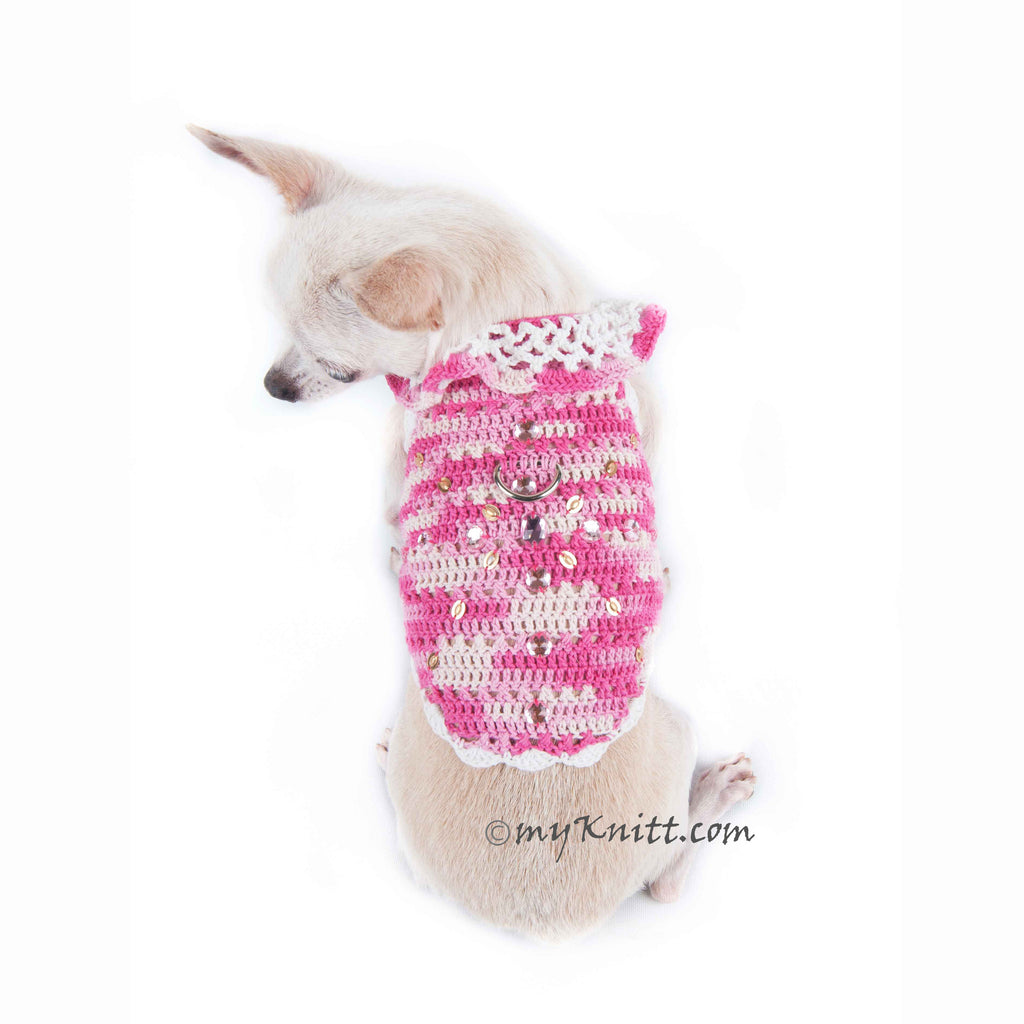 Rhinestones Pink Dog Harness Cotton Boho Chihuahua Clothes DK913