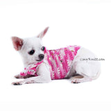 Rhinestones Pink Dog Harness Cotton Boho Chihuahua Clothes DK913 Myknitt (1)