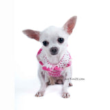 Rhinestones Pink Dog Harness Cotton Boho Chihuahua Clothes DK913 Myknitt (2)