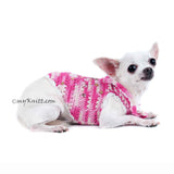 Rhinestones Pink Dog Harness Cotton Boho Chihuahua Clothes DK913 Myknitt (3)