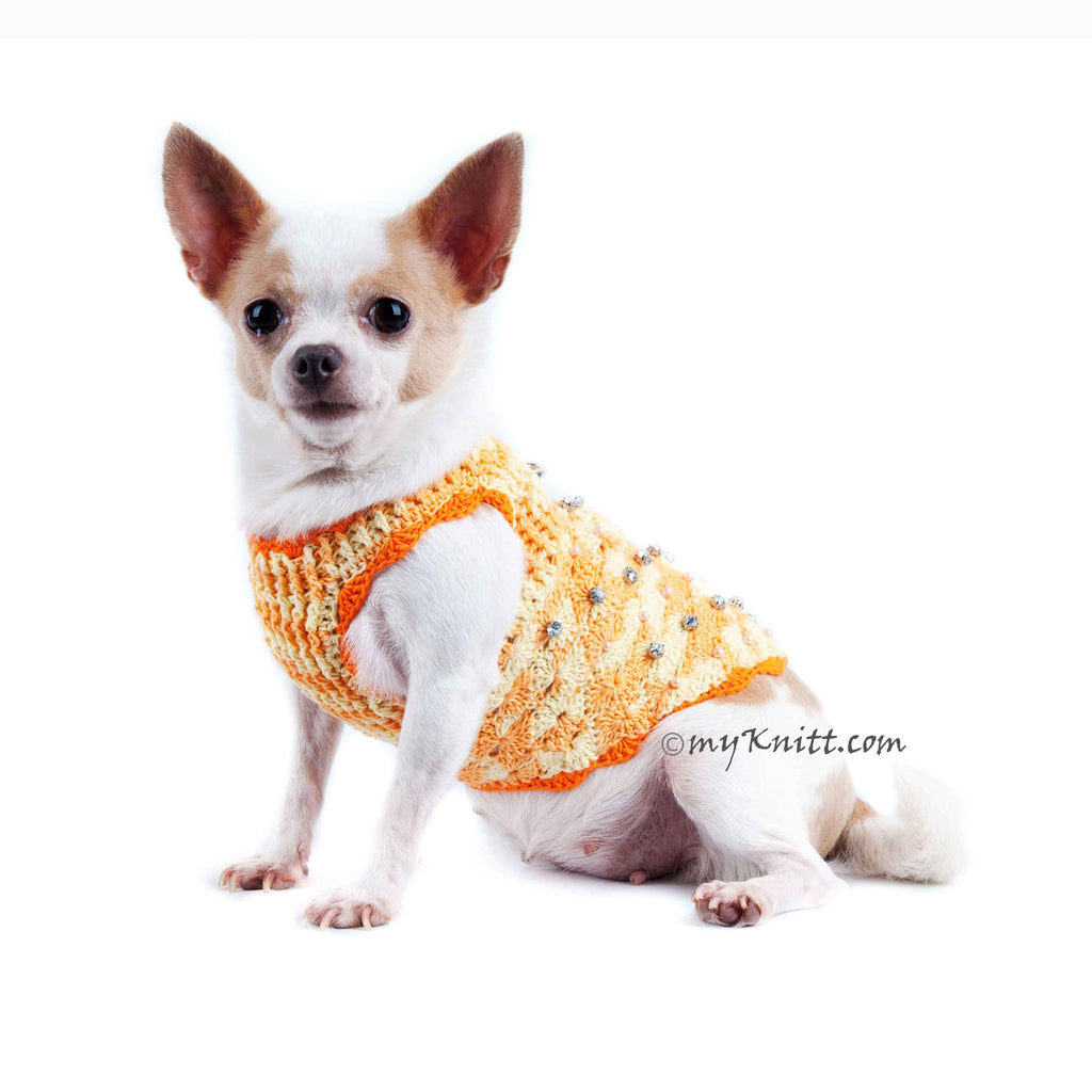 Luxury Dog Clothes with Crystals and Pearls Personalized Pet Harness DK914