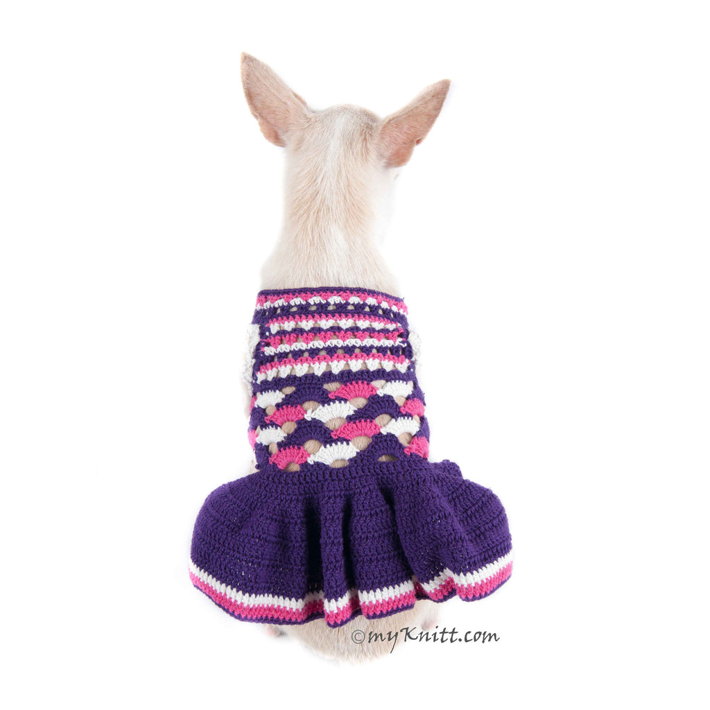 Purple Pink Dog Dress Ruffle Crochet DK968