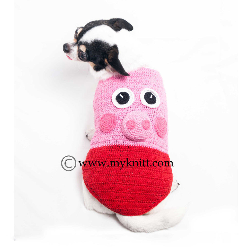 Peppa Pig Dog Costumes Unique Handmade Crochet DK998
