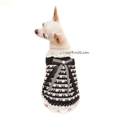 Black and White Dog Dress, Crochet Lace Dress, Chihuahua Clothes DK999