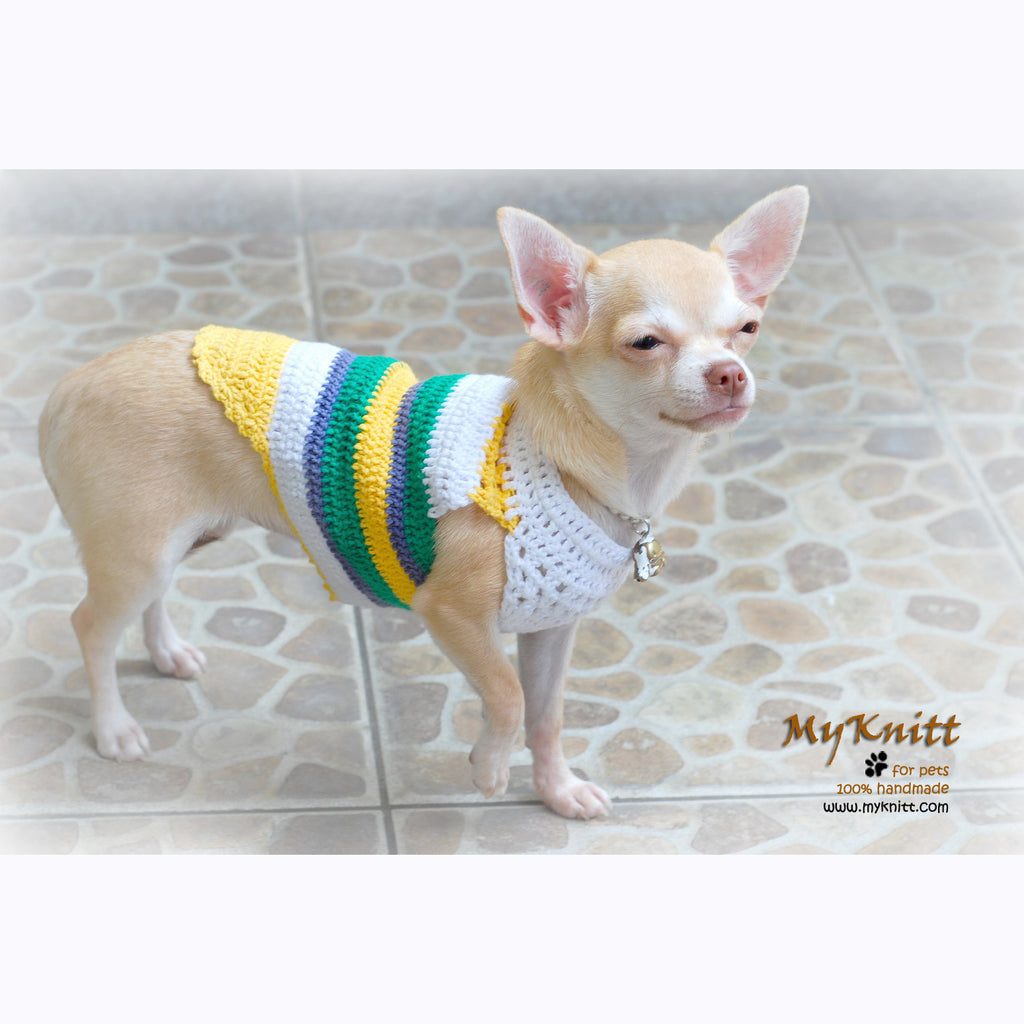 Summer Dog T Shirt Crochet Stripes Handmade DK812