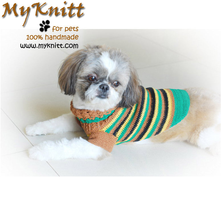 Casual Dog Clothes Boy Stripes Crocheted DK813