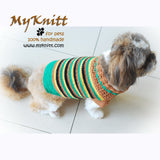 Casual Dog Clothes Boy Stripes Crocheted DK813 by Myknitt (1)