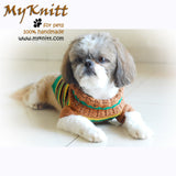 Casual Dog Clothes Boy Stripes Crocheted DK813 by Myknitt (3)