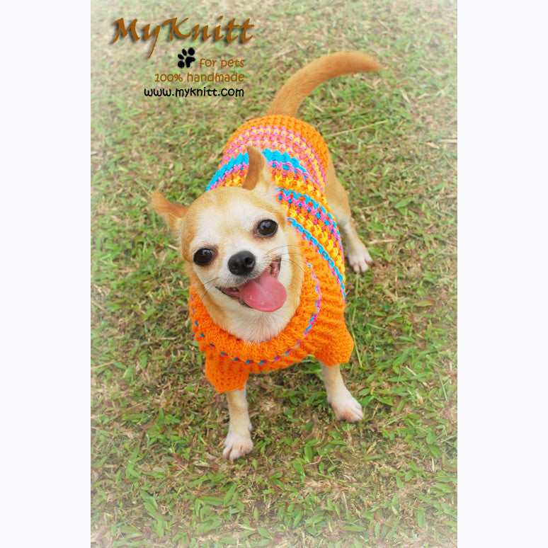 Bohemian Dog Sweater Colorful Warm and Cozy Knitted Cotton DK816