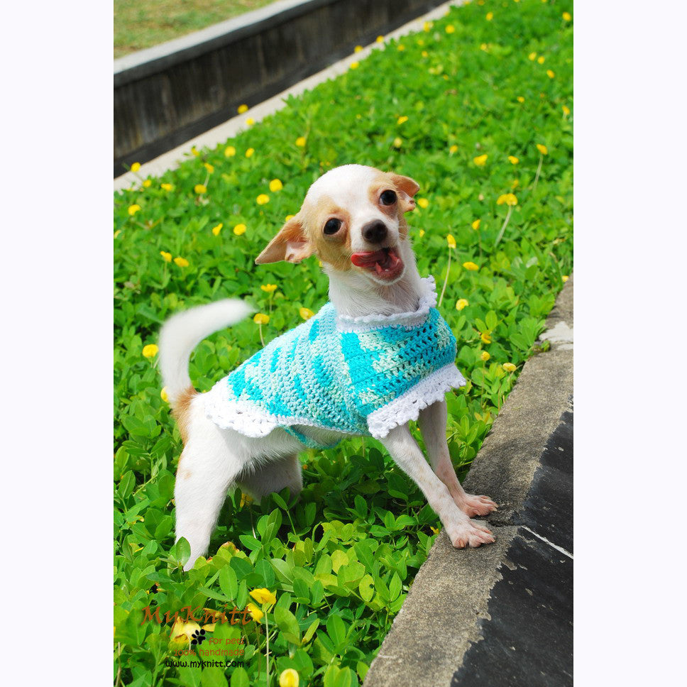 Turquoise Dog Coat Cute Cat Clothes Handmade Crocheted DK819
