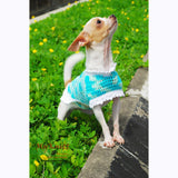 Turquoise Dog Coat Cute Cat Clothes Handmade Crocheted DK819 by Myknitt (2)