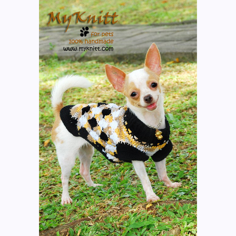 Argyle Cotton Chihuahua Sweater, Dog Clothes Crochet, DK820