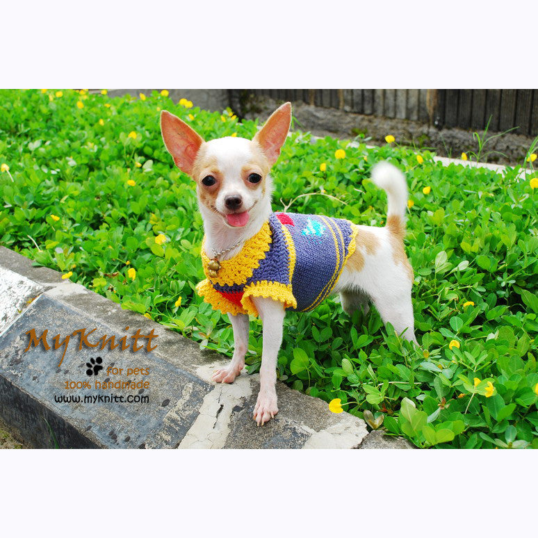 Argyle Chihuahua Winter Clothes Handmade Crochet Dog Sweaters  DK822