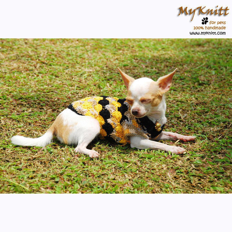 Black Yellow Diamond Chihuahua Clothes Cotton Knitting DK823