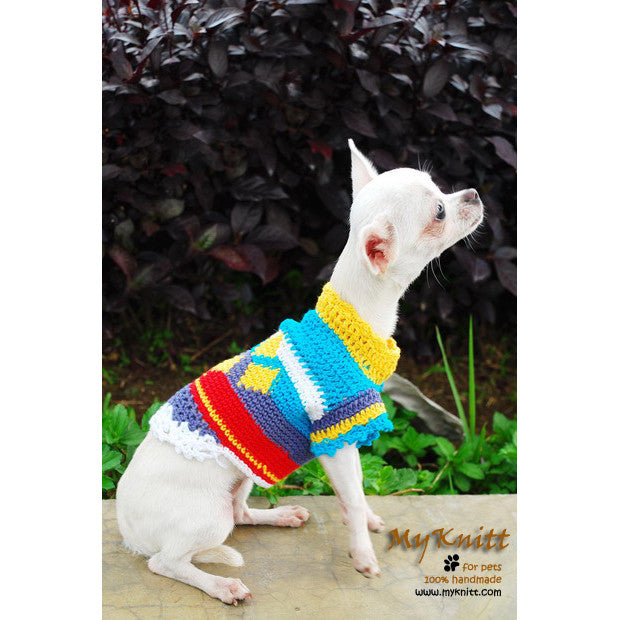 Cute Houndstooth Dog Clothes Colorful Chihuahua Clothing DK829 by Myknitt