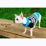 Black Turquoise Dog Clothes Boy Cotton Crochet Yorkie Sweater DK830 by Myknitt (1)