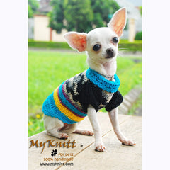 Black Turquoise Dog Clothes Boy Cotton Crochet Yorkie Sweater DK830