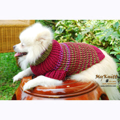 Burgundy Maroon Dog Sweater Cotton Hand Knitting DK835