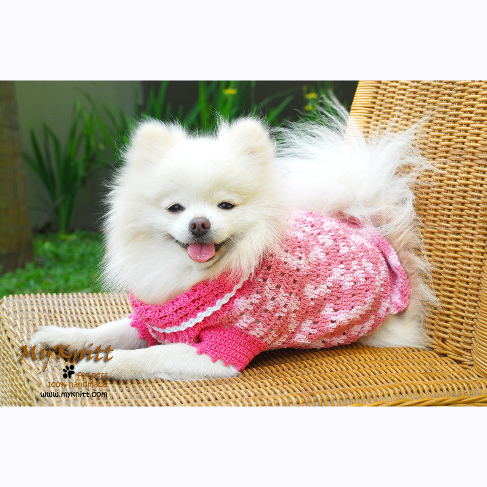 Pink Dog Clothes Lightweight Cotton Crocheted DK836