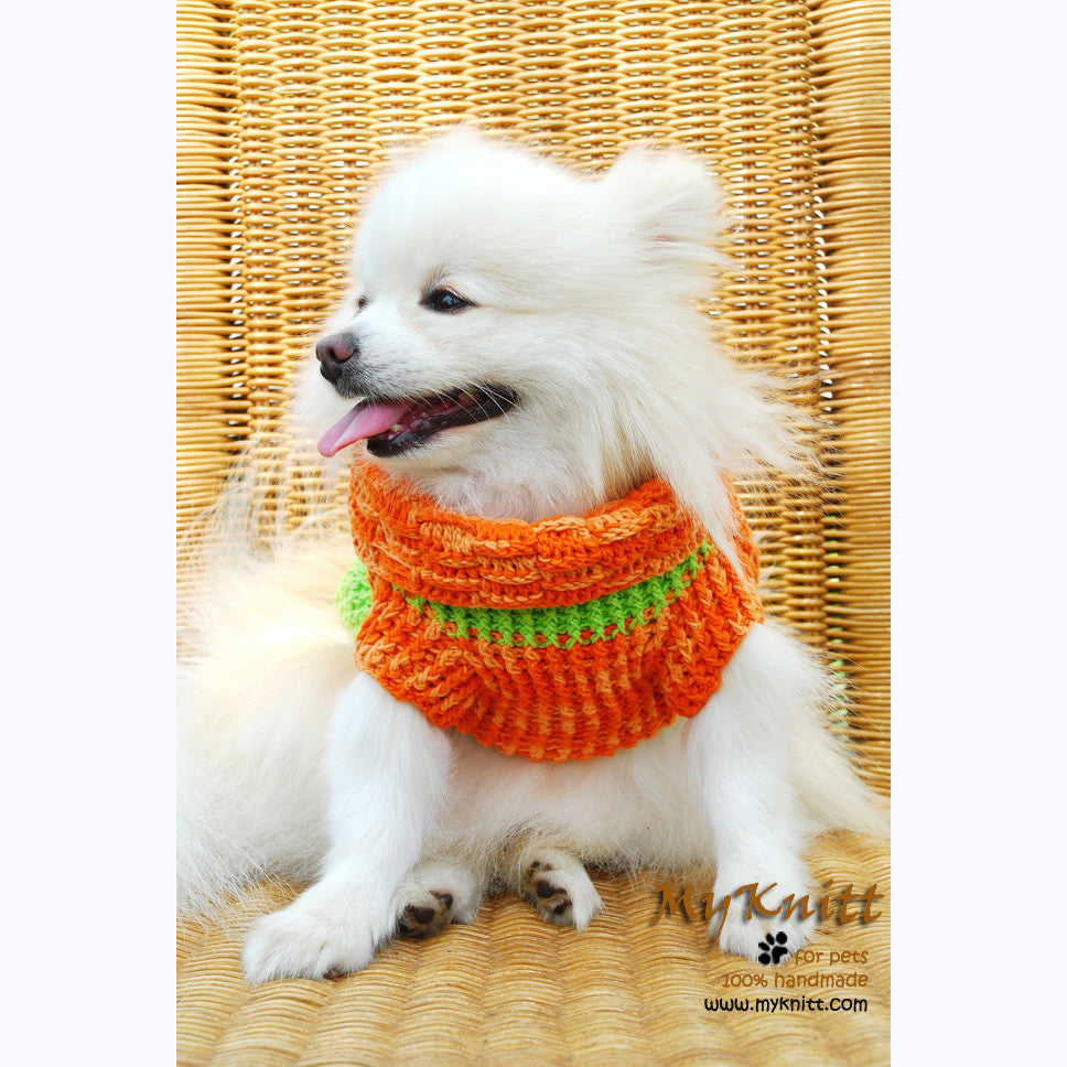 Orange and Mint Green Turtle Neck Dog Sweater Warm and Comfortable DK837 by Myknitt