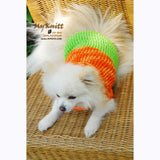 Orange and Mint Green Turtle Neck Dog Sweater Warm and Comfortable DK837 by Myknitt (2)
