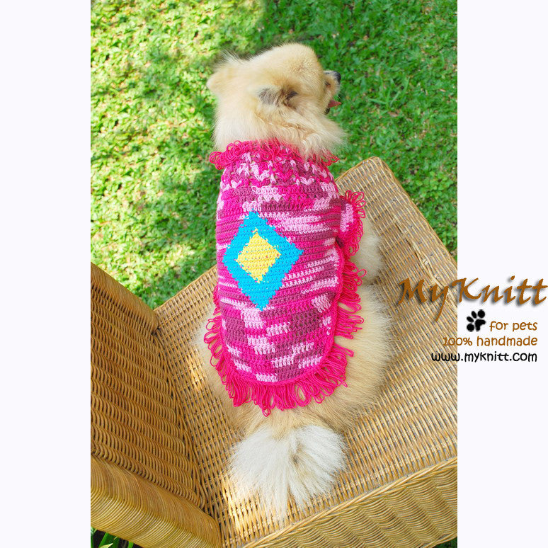 Bohemian Pink Dog Clothes Gypsy Style Diamond Crochet Pattern DK838