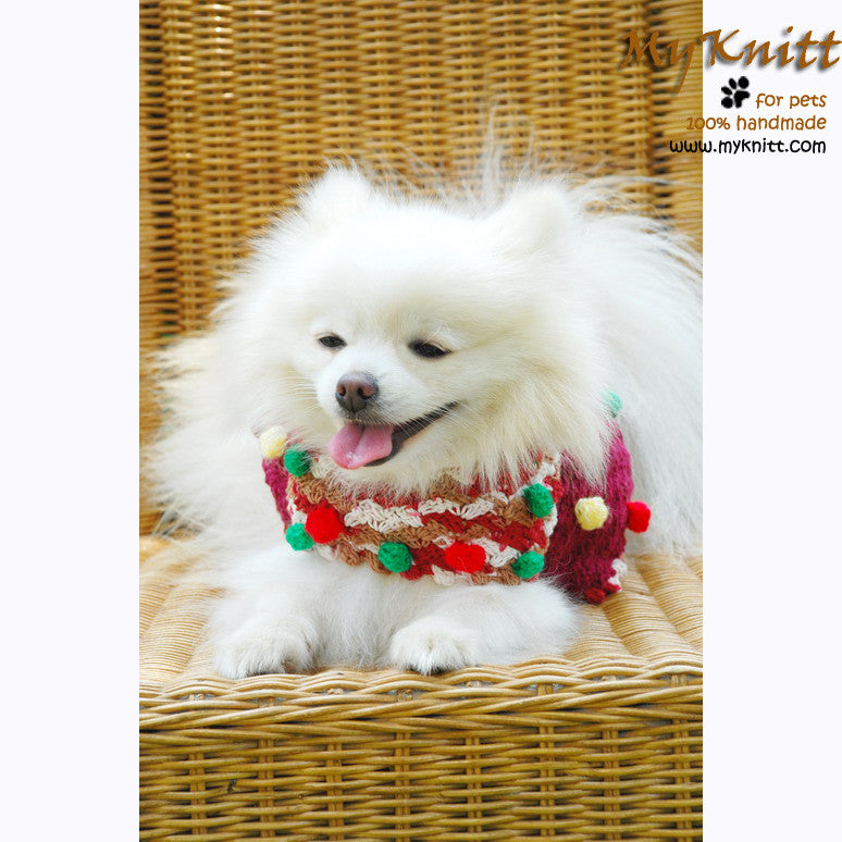 Cute Maroon Dog Poncho with Fluffy Cotton Ball DK839