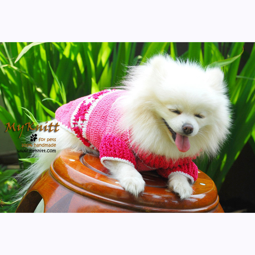 Cute Pink Dog Clothes with Flower Crocheted DK841