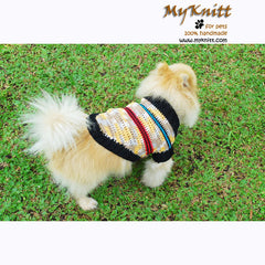 Beige Crochet Dog Sweater Casual Poodle Clothes DK842 by Myknitt