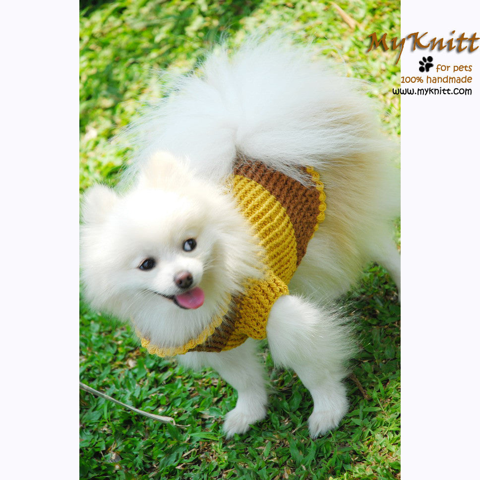 Mustard Turtle Neck Big Dog Clothing Crochet Dog Sweater DK843