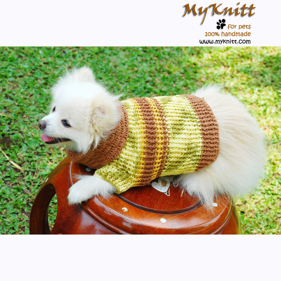 Knitted Dog Sweaters Lime Green Cotton Coats DK845 by Myknitt