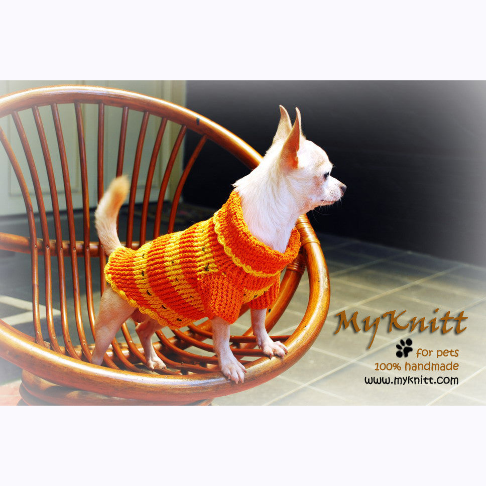 Orange Puppy Sweatshirts Puppy Coats Knitted Doggie Coats DK846