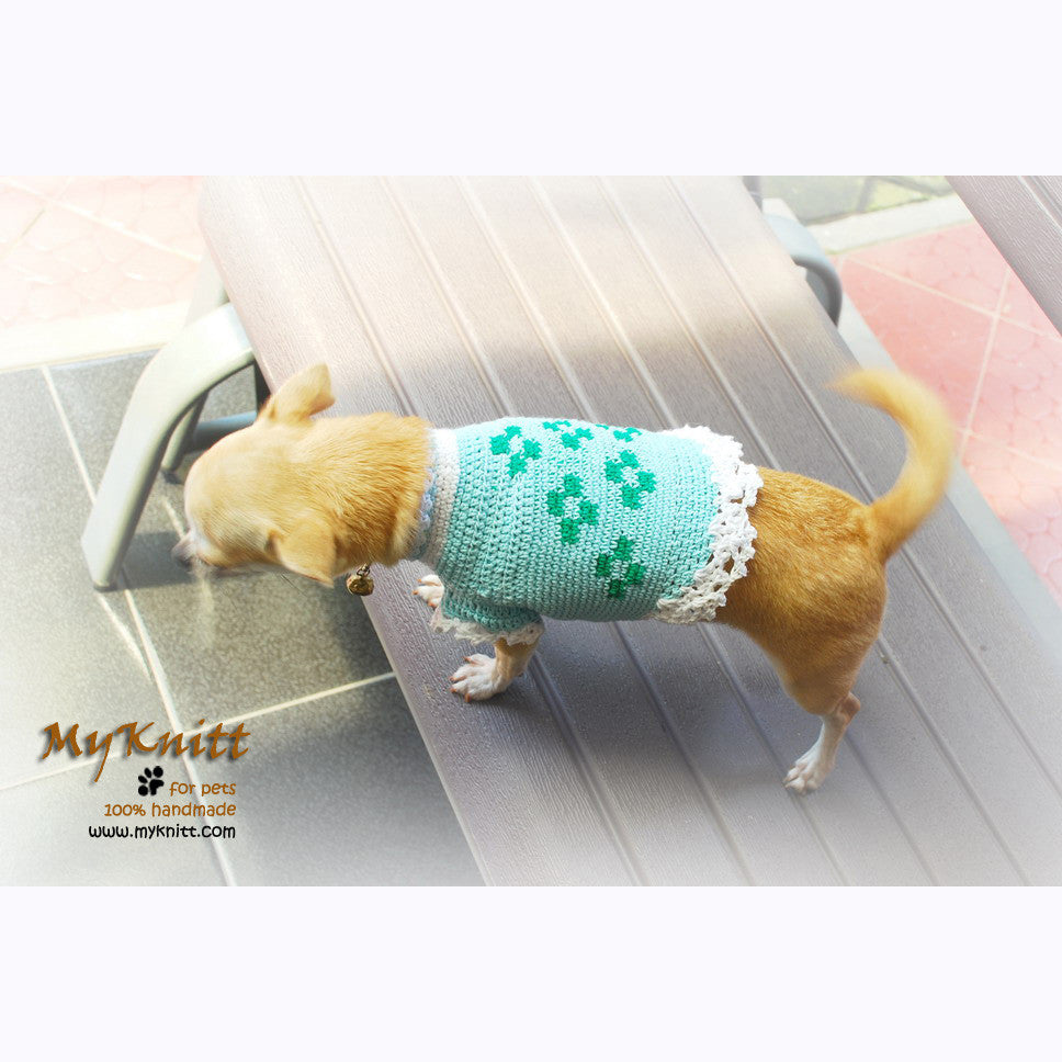 Crochet Dog Sweater Turquoise Cotton with Lace DK848
