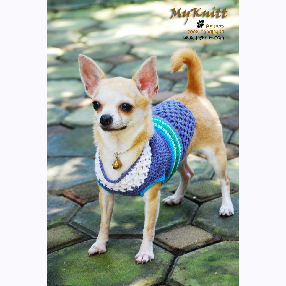Blue Little Dog Sweaters Crochet Cute Dog Clothes DK849