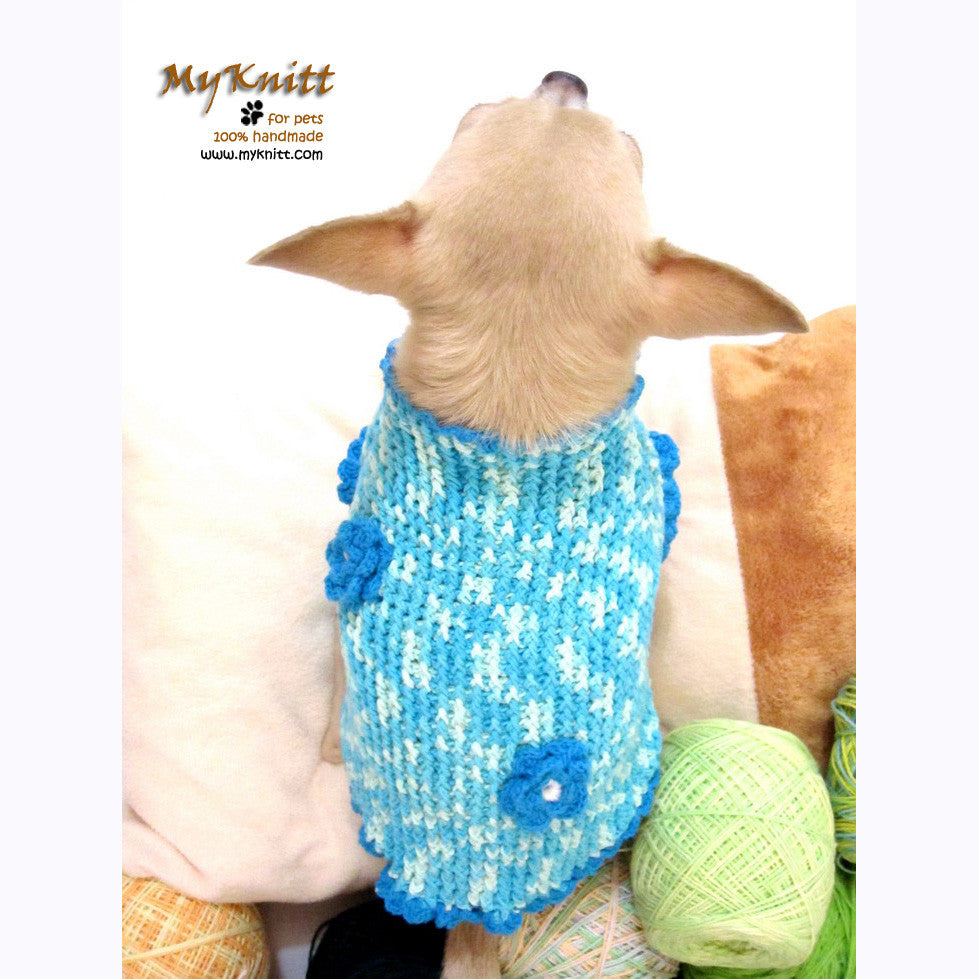 Winter Dog Coats Turquoise Blue Crochet Chihuahua Sweaters DK850 by Myknitt