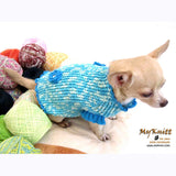 Winter Dog Coats Turquoise Blue Crochet Chihuahua Sweaters DK850 by Myknitt (1)