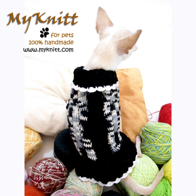 Black and White Knitted Dog Sweater Chihuahua Clothes DK851
