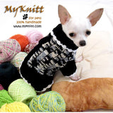 Black and White Knitted Dog Sweater Chihuahua Clothes DK851 by Myknitt (1)