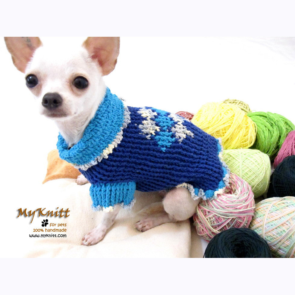 Unique Blue Argyle Dog Sweater Crocheted Chihuahua Clothes DK854