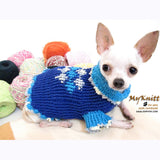 Unique Blue Argyle Dog Sweater Crocheted Chihuahua Clothes DK854 by Myknitt (1)