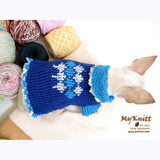 Unique Blue Argyle Dog Sweater Crocheted Chihuahua Clothes DK854 by Myknitt (2)