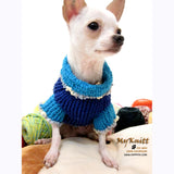 Unique Blue Argyle Dog Sweater Crocheted Chihuahua Clothes DK854 by Myknitt (3)