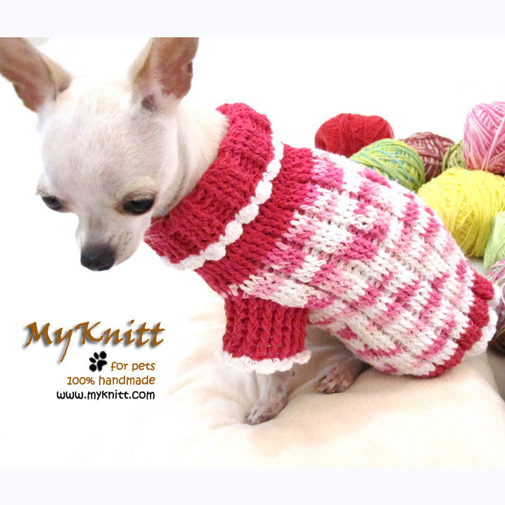 Pink Dog Sweater Chihuahua Clothes Cotton Crocheted Pet Clothing