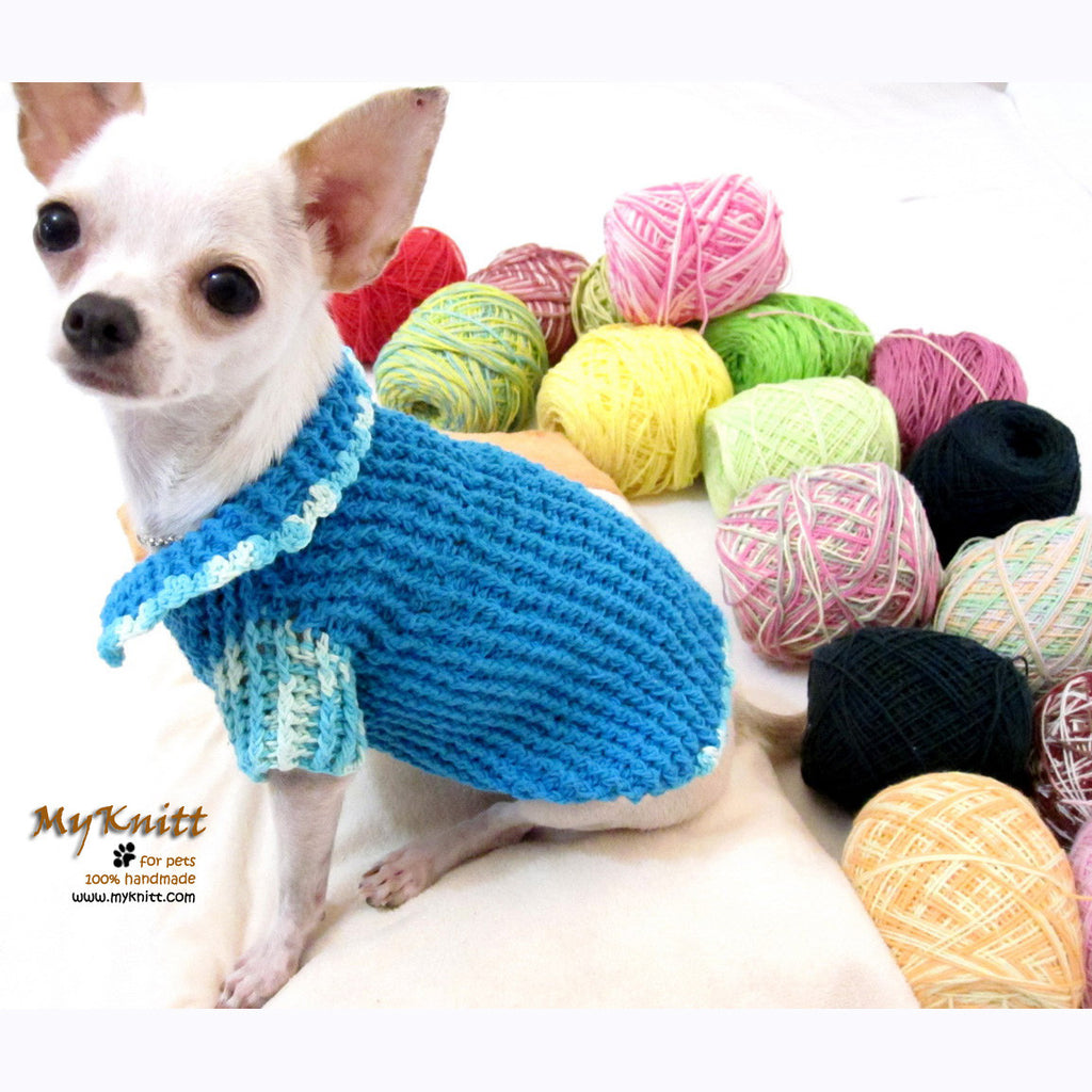 Turquoise Knitted Dog Sweater with Peter Pan Collar DK856