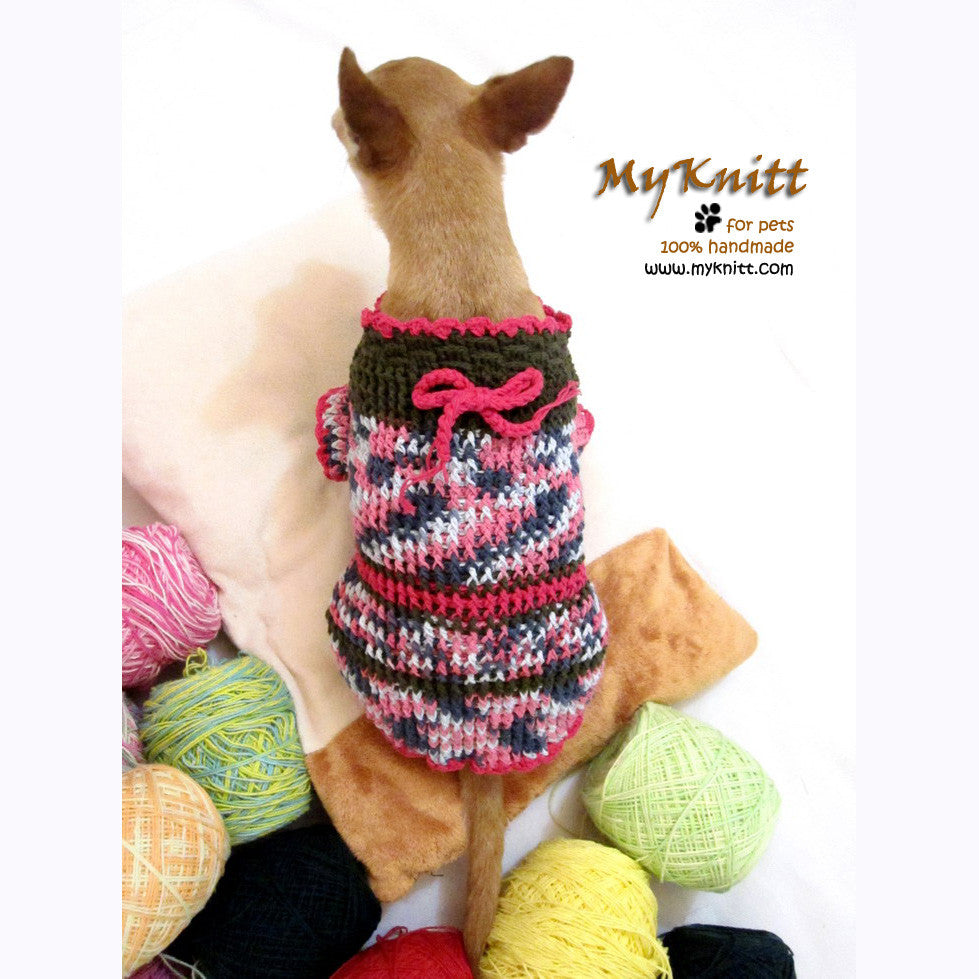 Cute Pink Olive Chihuahua Sweater Home made Crocheted DK859
