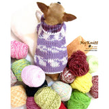 Purple Crocheted Chihuahua Sweater Soft and Warm Cotton Sweater DK864 by Myknitt (1)