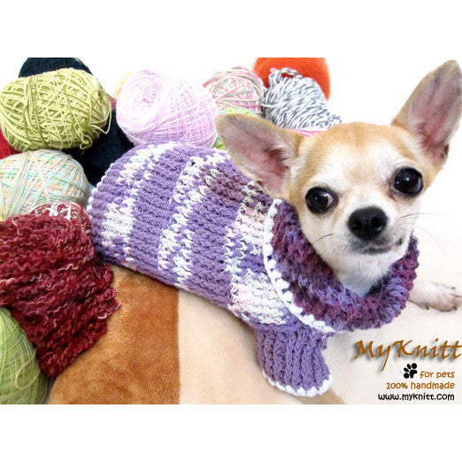 Purple Crocheted Chihuahua Sweater Soft and Warm Cotton Sweater DK864