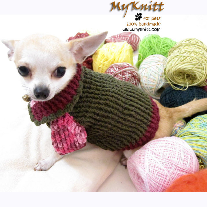 Burgundy Olive Cotton Knitted Dog Sweater DK865 by Myknitt